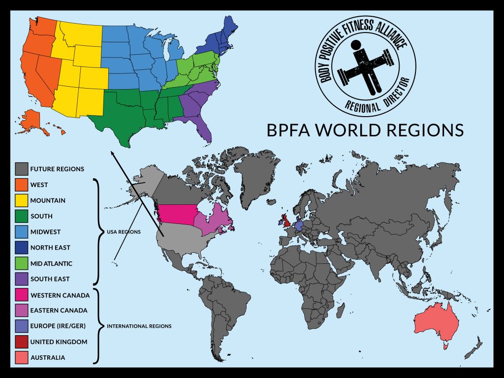 Body Positive Fitness Alliance World Regions Map