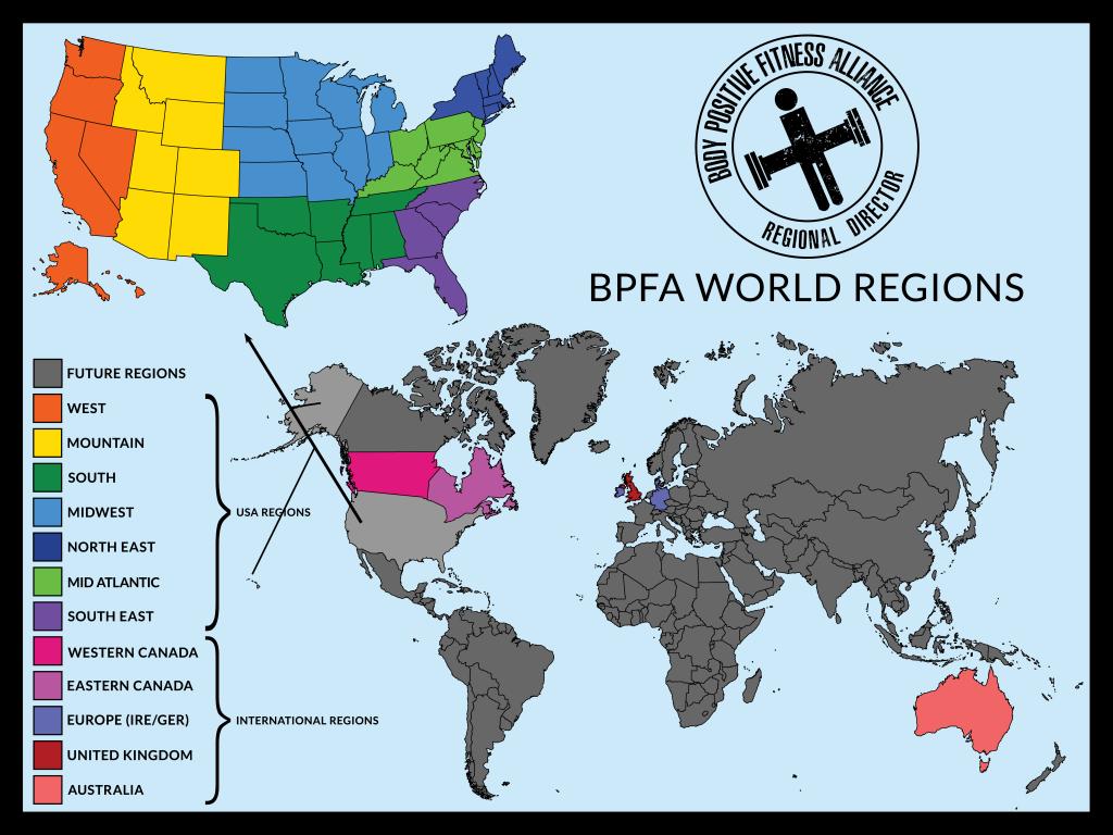 Body Positive Fitness Alliance World Regions Map